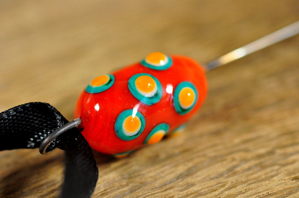 Spinner's Fetch Hook (Orifice hook) Orange with Dots