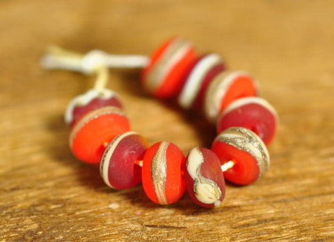 Handmade Lampwork Glass Bead Set - 'Iced Berries'