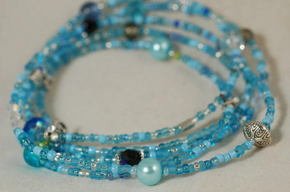 DIY Jewellery Kit - Make your own long beaded necklace: Sea Blues