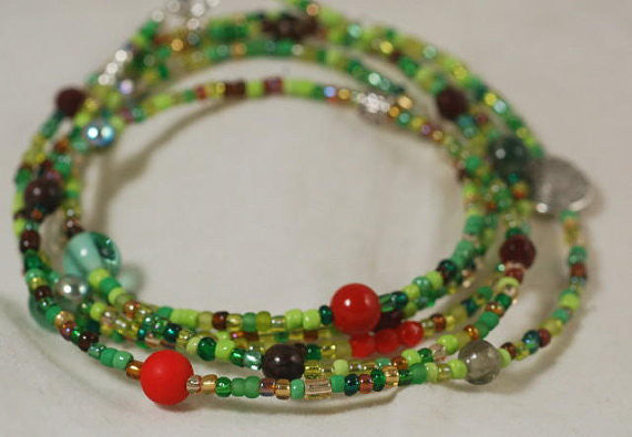 DIY Jewellery Kit - Make your own long beaded necklace: Forest Green