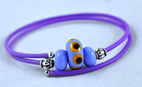 Purple Wrap Bracelet with Blue Lampwork Glass Beads