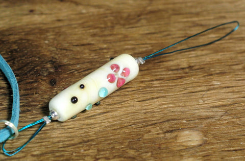 Spinner's Threading Hook (Orifice hook), Lampwork Glass: Ivory/Pink Flowers