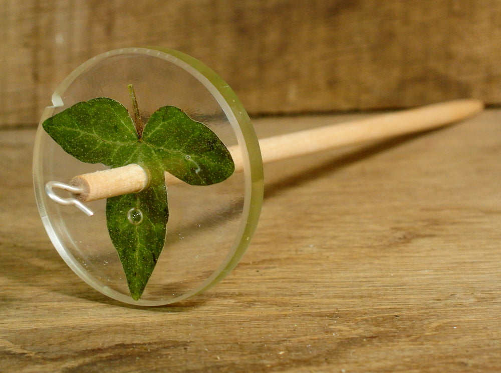 Resin Drop Spindle - Ivy Leaf