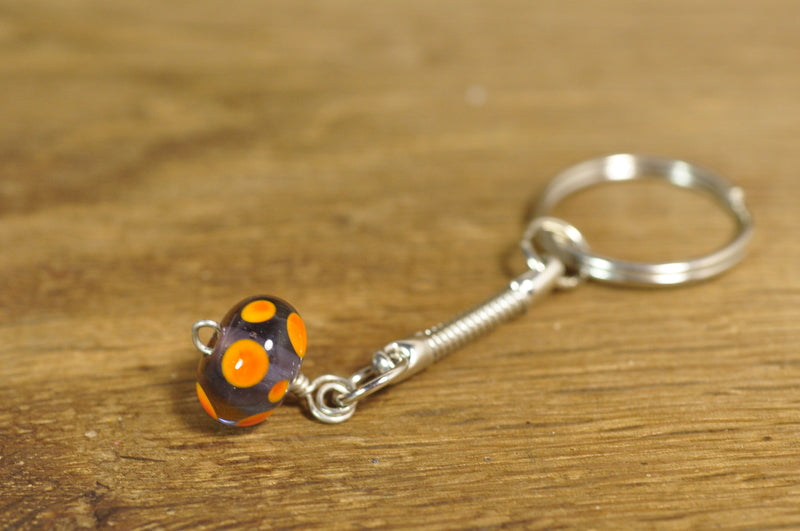 ON SALE! Handmade Lampwork Keyring - Lilac and Orange Dots