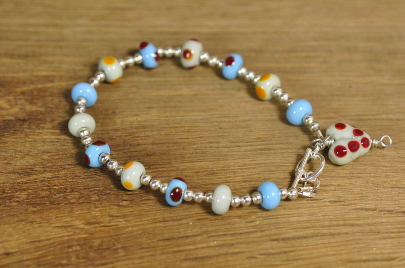 SALE! Lampwork Bracelet with Blue and Grey Glass Beads
