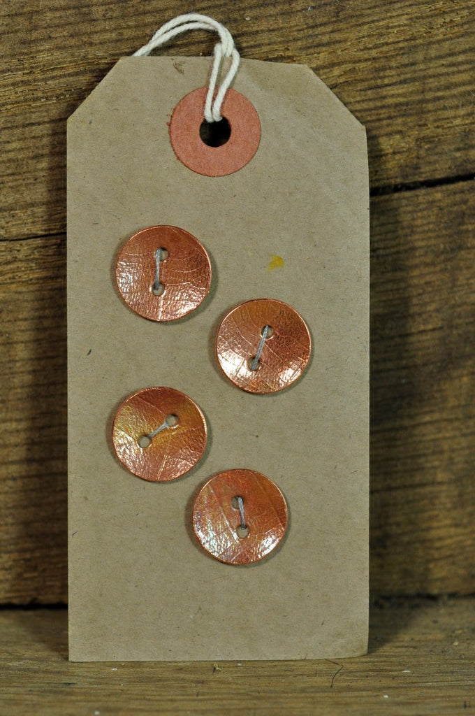 Handmade Copper Buttons - Leaf Pattern 18mm