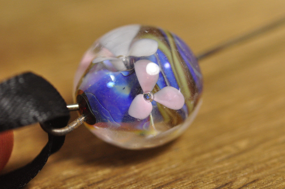 Spinner's Fetch Hook (Orifice hook), Lampwork Glass: Little Flowers, Iridescent Blue