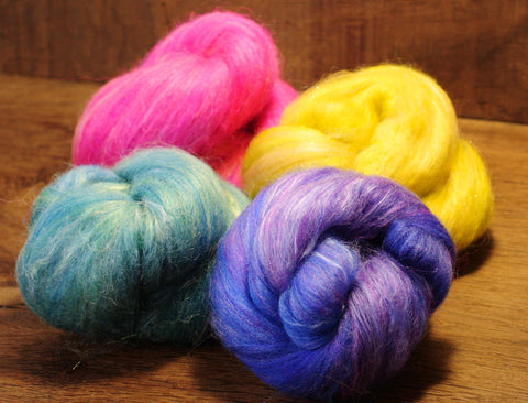 Carded Wool/Luxury Fibre Batt Set, 100g - 'Bright Rainbow'
