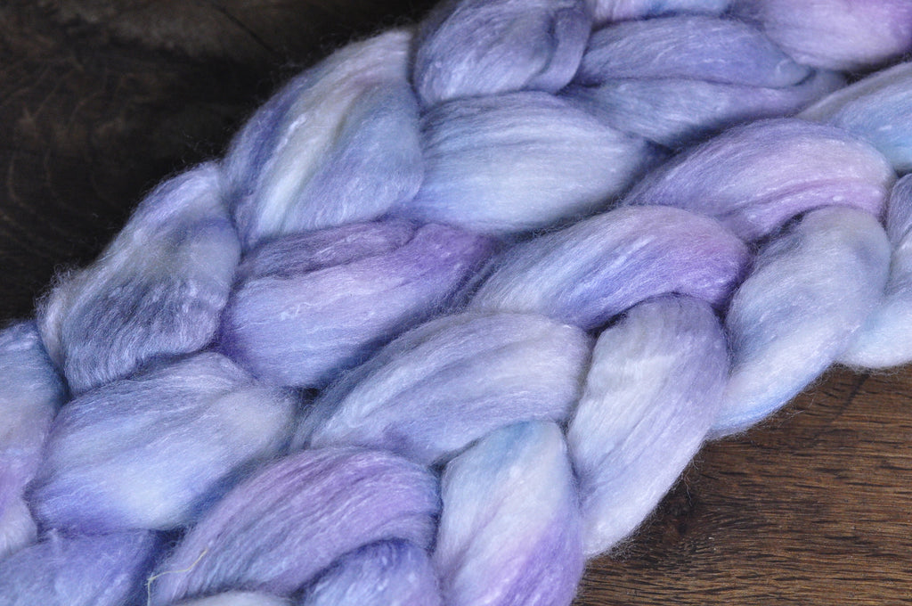 Tweedy Merino/Bamboo Top with Neps for Hand Spinning - 'Icy'