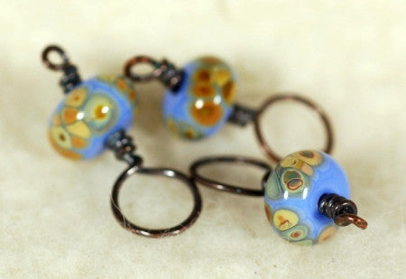 Stitch Marker Set - Blue Glass (8)