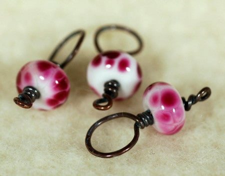 Stitch Marker Set - Pink Glass (9)