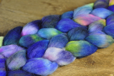100g Hand Dyed Merino Wool Top for Handspinning or Felting - 'Aconite'