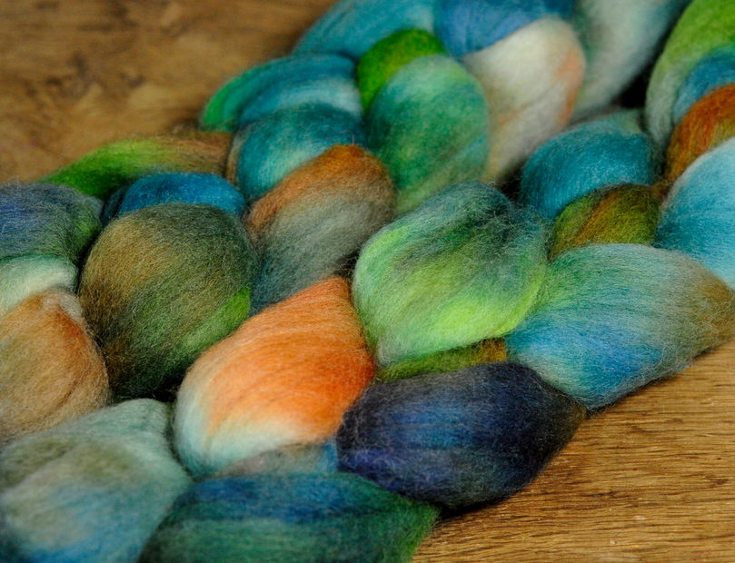 Hand Dyed Merino Wool Top - 'Blue-Green Algae'