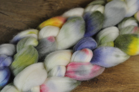 Hand Dyed Merino Wool Top - 'Alpine Flowers'