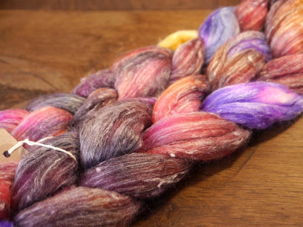 Tweedy Merino/Bamboo Top with Neps for Hand Spinning - 'Aubergine'