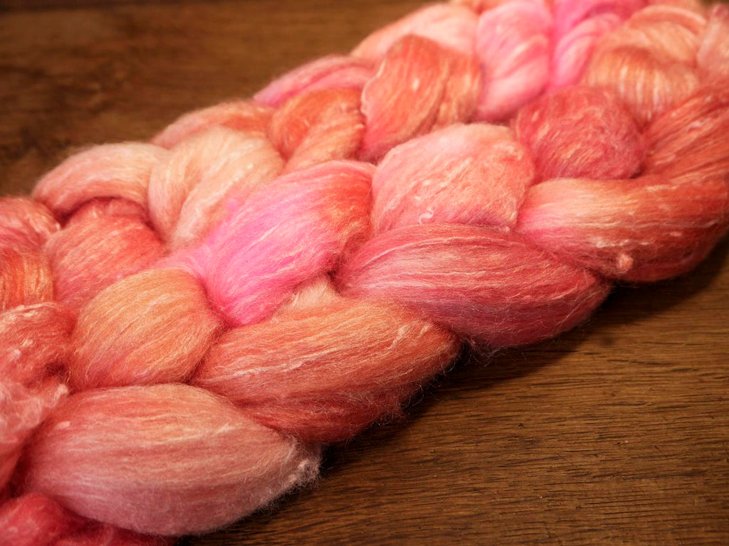 Tweedy Merino/Bamboo Top with Neps for Hand Spinning - 'Rose Pinks'