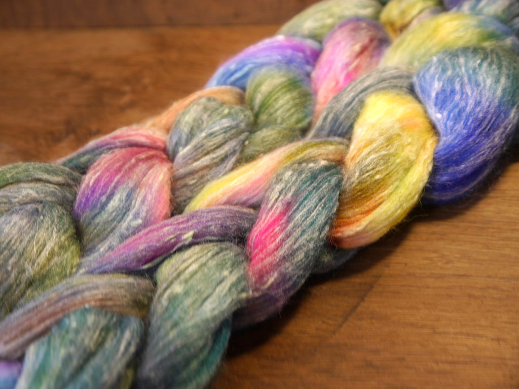 Tweedy Merino/Bamboo Top with Neps for Hand Spinning - 'Wildflowers'