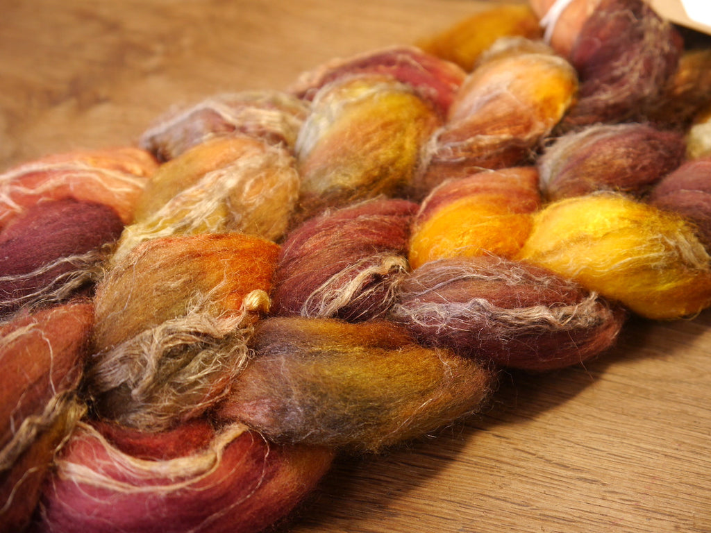 Merino/Flax/Silk Top for Hand Spinning - 'Crab Apple'