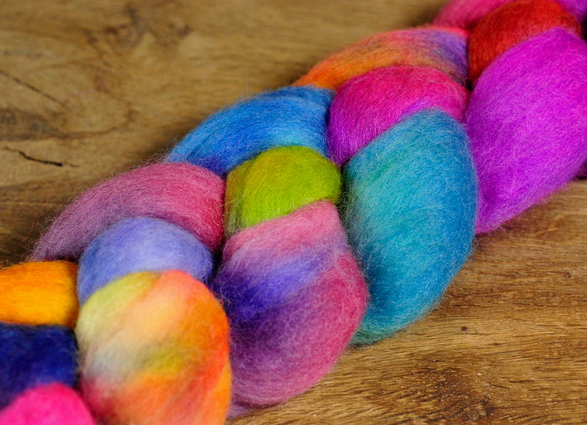 Hand Dyed Merino Wool Top - 'Jester'