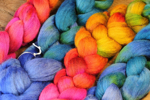 100g Hand Dyed Merino Wool Top for Handspinning or Felting, Gradient Dyed - 'Muted Rainbow'