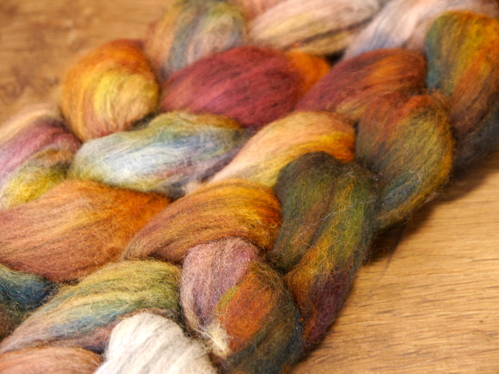 100g Hand Dyed Merino Wool Top for Handspinning or Felting - 'Patina'