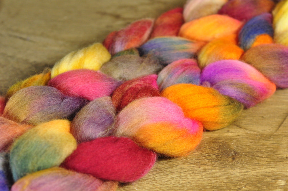 100g Hand Dyed Merino Wool Top for Handspinning or Felting - 'Russet Tones'