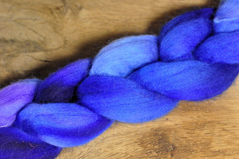 Hand Dyed Merino Wool Top for Handspinning - 'Sapphire'