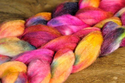 Luxury Merino/Silk Top (50% blend) for Hand Spinning or Felting - 'Fruit Punch'