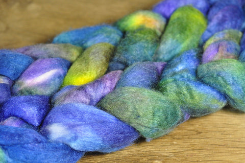 50g Merino/Silk Top (50/50) for Hand Spinning - 'Rock Pool'