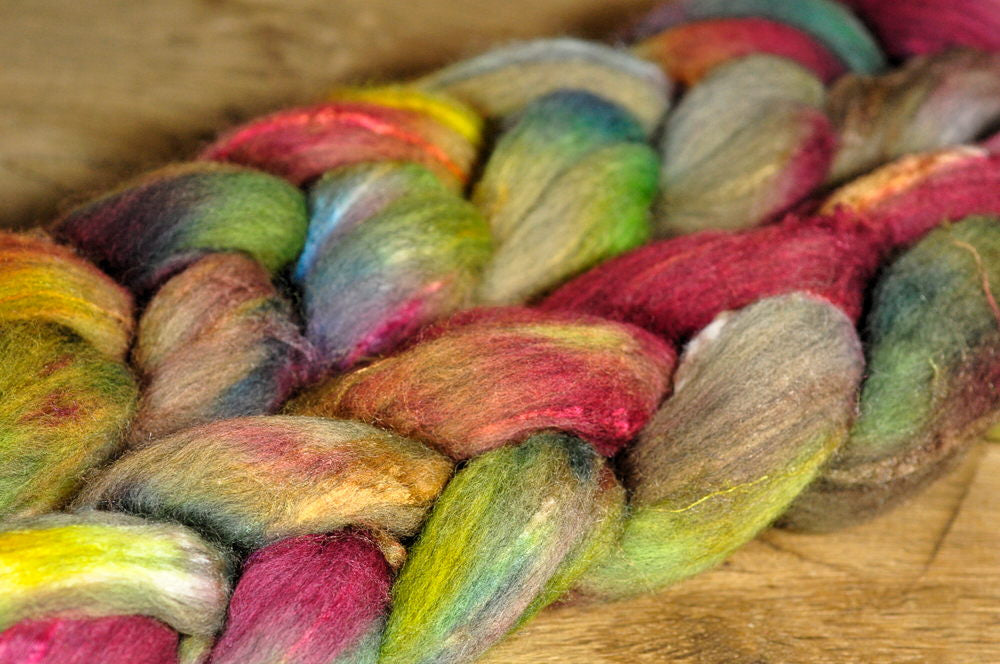 Hand Dyed Luxury Merino/Silk Top for Handspinning - 'Currant Bush'