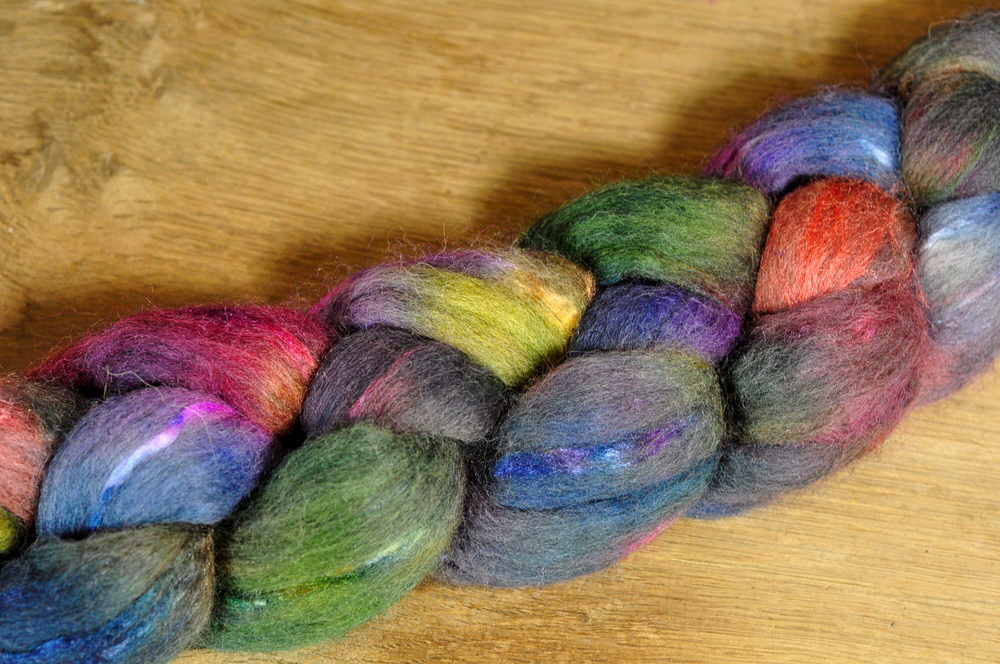 Merino/Silk Top (50/50) for Hand Spinning - 'Iridescent'