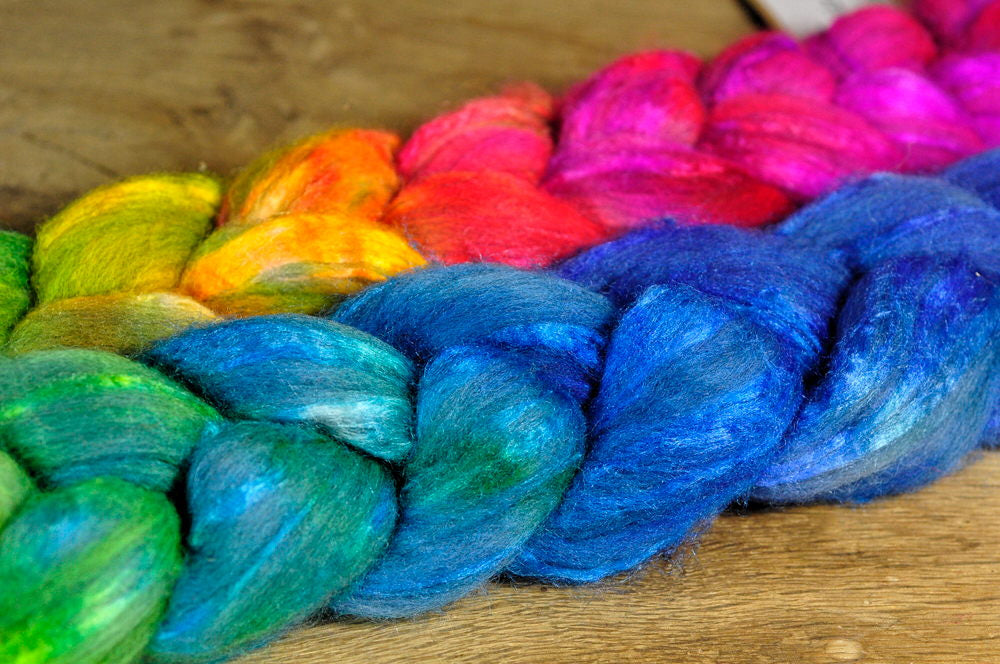 Hand Dyed Luxury Merino/Silk Top for Handspinning or Felting, Gradient Colours - ''Muted Raindow'