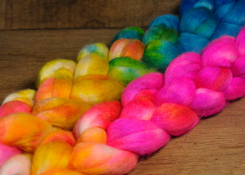 Merino/Silk Top (50/50) for Hand Spinning - 'Tropical Rainbow'