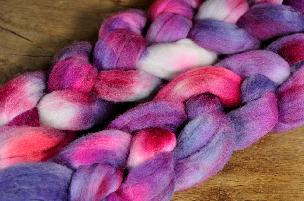 Hand Dyed Merino Wool Top - 'Sweet Violets'