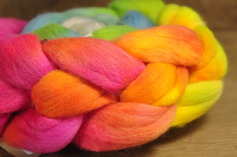 Hand Dyed Merino Wool Top - 'Tropical Rainbow'