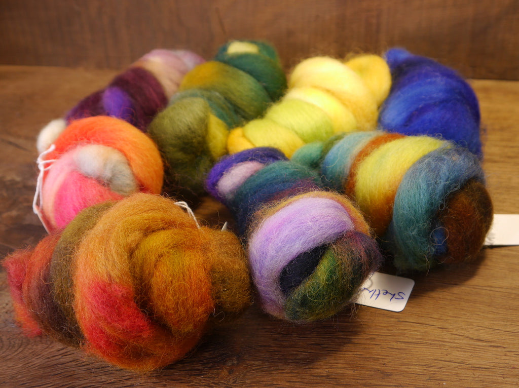 Hand Dyed Wool Tops - 200g Mini Bundle Set, Rainbow Colours (No.1) for Needle Felting or Hand Spinning