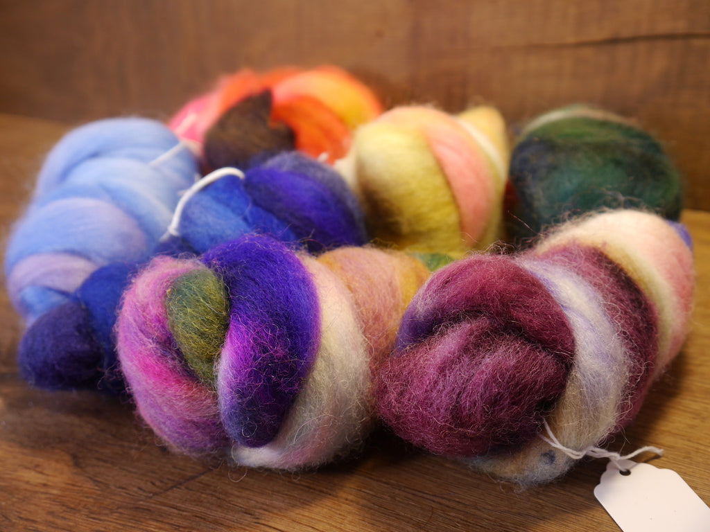 Hand Dyed Wool Tops - 200g Mini Bundle Set, Rainbow Colours (No.2) for Needle Felting or Hand Spinning
