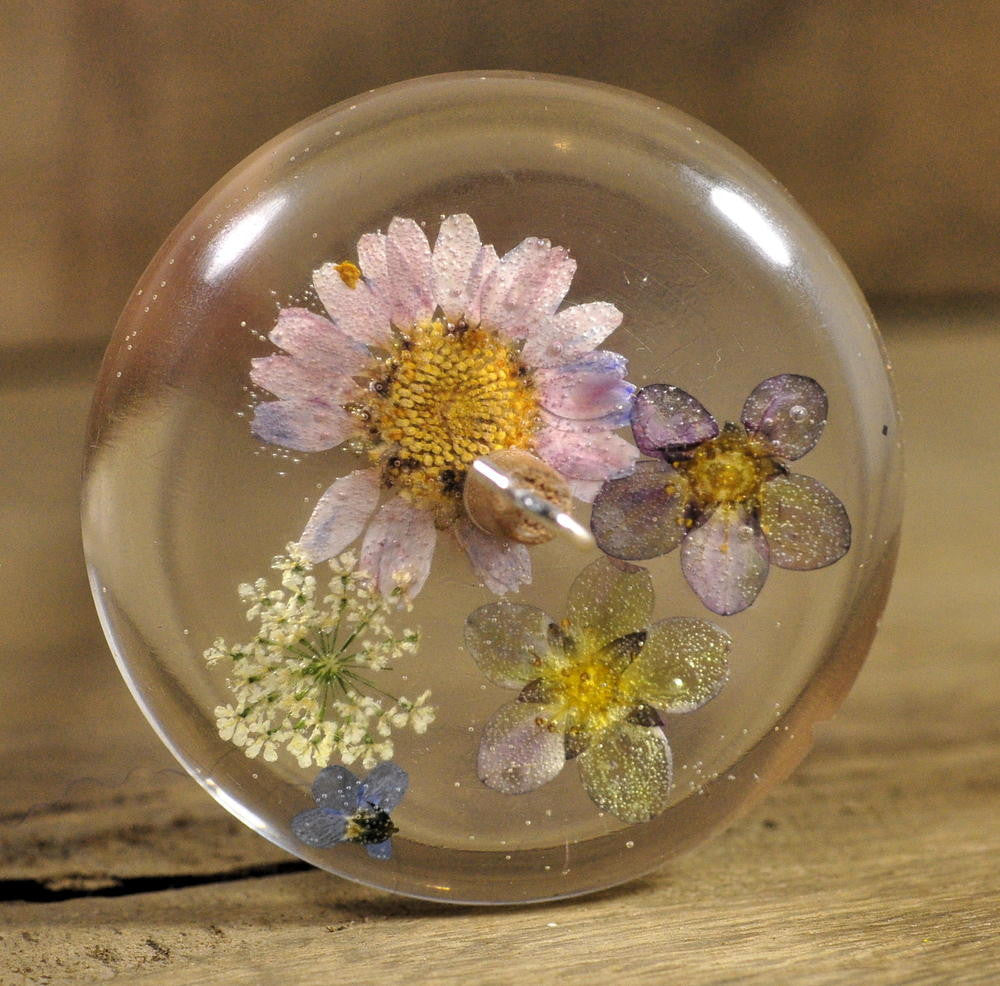 Resin Drop Spindle - Mixed Garden Flowers (1)