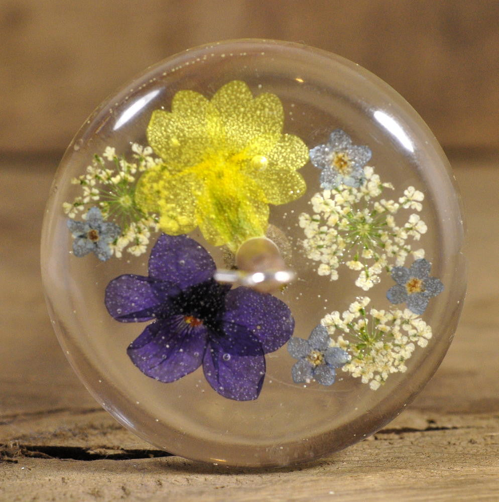 Resin Drop Spindle - Mixed Spring Flowers (1)
