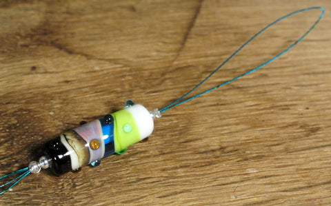 Spinner's Threading Hook (Orifice hook), Lampwork Glass: Multicolour Swirls and Dots