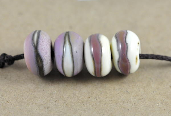 Handmade Glass Beads - Ivory and Pink Stripes