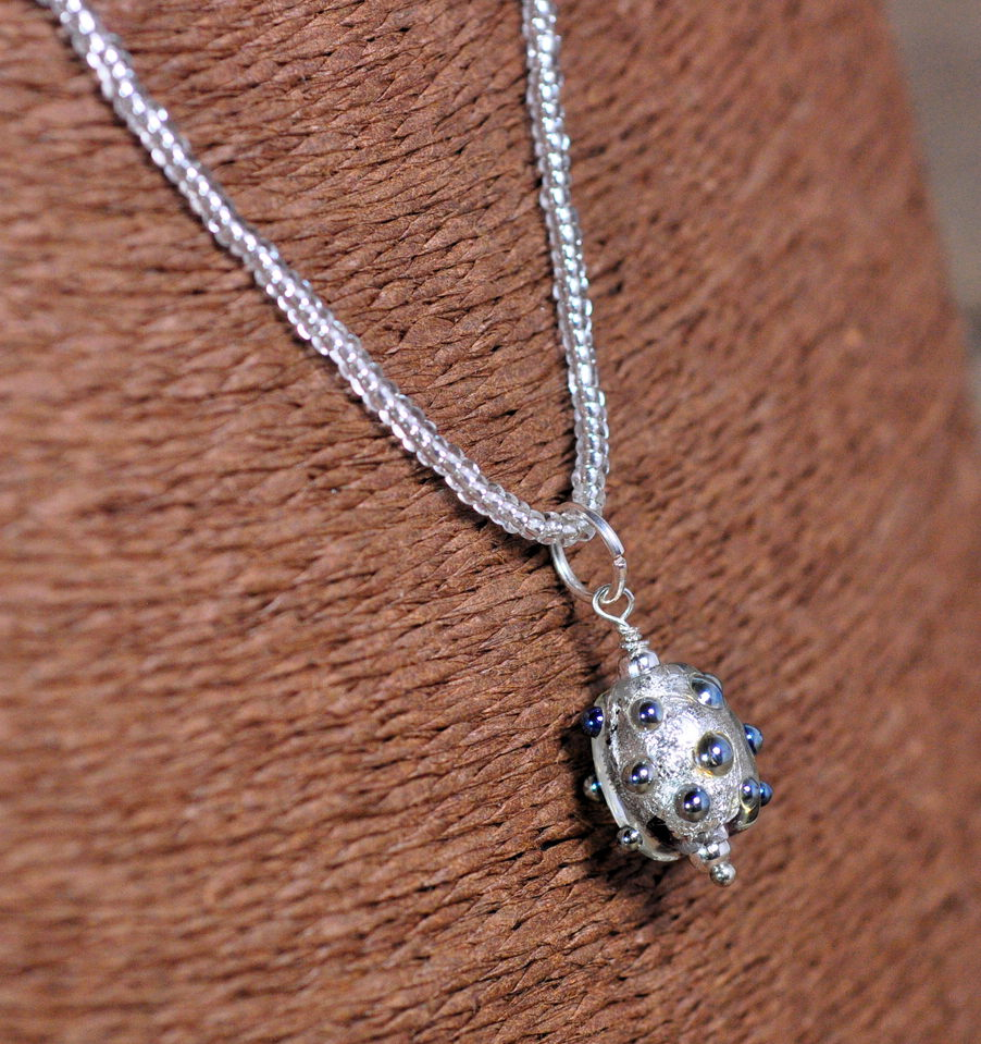 Lampwork Bead Necklace - Shimmery Silver on Seed Bead Chain