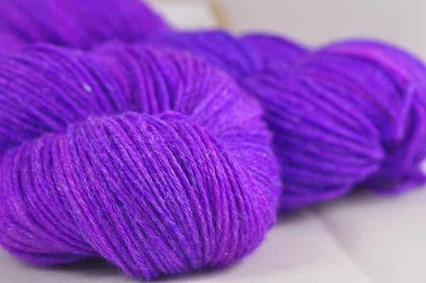 "Hand Dyed Merino / bamboo 4ply Semi-Solid Yarn (New London 4ply) - ""Purples"""