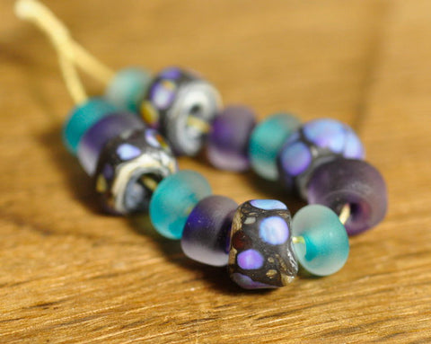 Handmade Lampwork Glass Bead Set - 'Ocean Jewels'