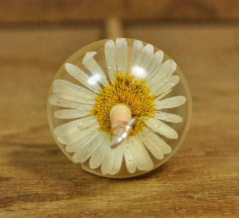 Resin Drop Spindle - Ox-Eye Daisy