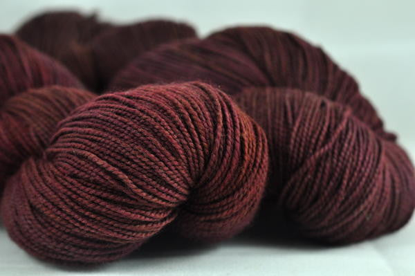 "Hand Dyed Merino/Nylon 4ply Semi-Solid Yarn (Oxford 4ply) - ""Red-Brown"""