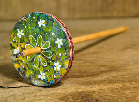 Painted Wooden Drop Spindle, Top Whorl, Green Flowers