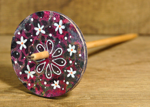 Painted Wooden Drop Spindle, Top Whorl, Purple Flowers, Rustic Finish