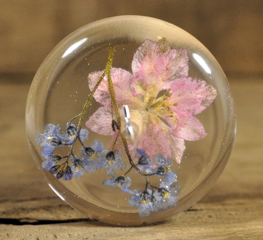 Resin Drop Spindle - Pink Larkspur and Forget Me Not