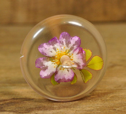 Resin Drop Spindle - Pink Rose
